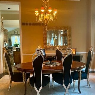 Metal Silver Green White Dining Room Design / Decoration (#126587)