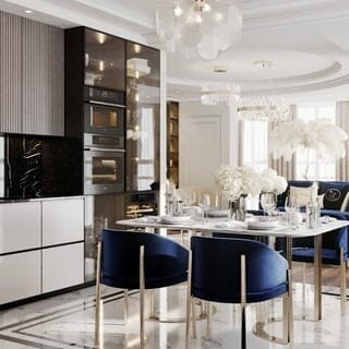Small Silver Dining Room Design / Decoration (#114144)