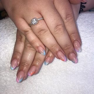 Gel Summer Flower Acrylic Ombre Nail Designs  (#137790)