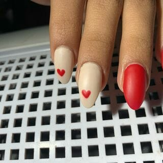 White Red Heart Nail Designs  (#133704)