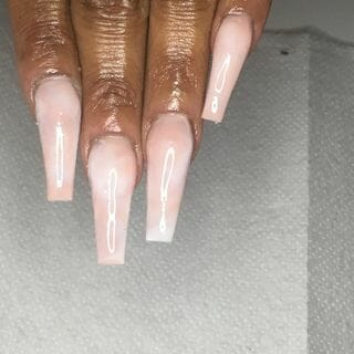 White Gel Marble Ombre Nail Designs  (#134347)
